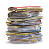 Pile of Files. Large Pile Of Messy Files Isolated on White Background Royalty Free Stock Photo