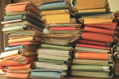 Pile of files. Stacked office files: pile of paperwork in an office Royalty Free Stock Photography