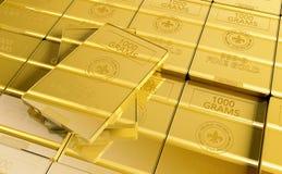 Pile of Fine Gold. Closeup 3D Rendered Illustration. Secured Gold Bank Storage Concept Stock Images