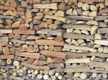 A pile of  firewood background. Royalty Free Stock Photos