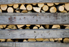 Pile of Firewood in Box. Pile of Firewood in Wooden Container Box Stock Images
