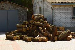 Pile of firewood. In the courtyard is a bunch of wood on Ruba Stock Photo