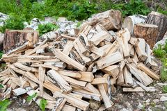 Pile of firewood. Preparation of firewood for the winter and use for cooking, firewood background, Stacks of firewood in the fores royalty free stock image