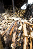 Pile of firewood stacked Royalty Free Stock Photos