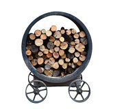 Pile of firewood stock in the iron metal container wheel cart for outdoor cooking isolated on white background royalty free stock images