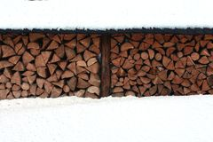 A pile of firewood in winter Stock Photography
