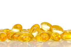 Pile of fish oil capsules Royalty Free Stock Photos