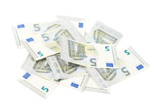 Pile of five euro notes Stock Image