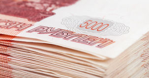 Pile of five thousands russian rubles bills. Closeup Stock Images
