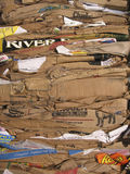 Pile of flattened cardboard boxes Stock Images