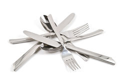 A pile of flatware. Stock Photo