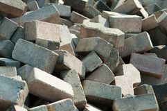 Pile of Flemish bricks. Pile of spare pavement bricks Royalty Free Stock Photography