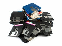 Pile of floppy discs. Isolated on white Stock Image
