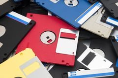 Pile of floppy disks. Mixed pile of obselete computer floppy disks Royalty Free Stock Photos