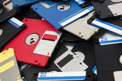 Pile of floppy disks. Mixed pile of obselete computer floppy disks Royalty Free Stock Image