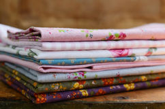 Pile of floral pattern textile in shabby style Royalty Free Stock Image