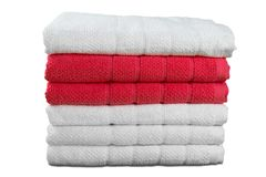 Pile of fluffy towels on white background Stock Image