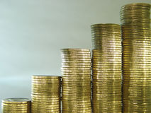Pile folded of coins in the form of charts. Diagram consisting of piles of coins, denotes the growth Stock Image