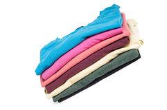 A pile of folded T shirts Royalty Free Stock Photo