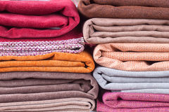 Pile of folded textile Stock Images