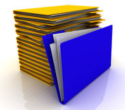 Pile of folders. Multi-coloured folders. 3D render Royalty Free Stock Photography