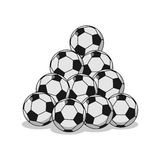 Pile of football. Many soccer balls. Sports accessory Royalty Free Stock Photos