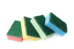 Pile of four kitchen sponges Stock Photo