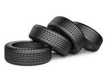 Pile of four new black wheel tyres for car. On white background 3d image Royalty Free Stock Images