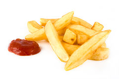 Pile of french fries and ketchup Royalty Free Stock Photos