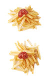 Pile of french fries potatoes isolated Royalty Free Stock Images