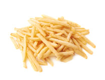 Pile of french fries potatoes isolated Stock Photo