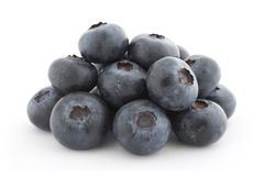 A pile of fresh blueberries. Isolated on white background with shadow Royalty Free Stock Images