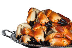 Pile of fresh boiled crab claws on a silver tray. Isolated on white background stock photography