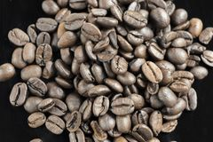 A Pile Fresh Coffee Beans Close Up.  Royalty Free Stock Photos