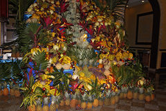 Pile of fresh fruits in a big restaurant, prepared for customers Royalty Free Stock Images