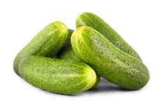 Pile of fresh gherkins. Close up, isolated Royalty Free Stock Photo