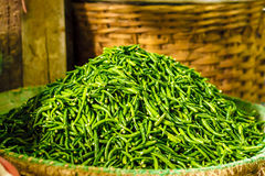 Pile of fresh green chilli peppers in the basket. Raw food. Close up. Traditional vegetable market in Bangkok, Thailand. Stock Image
