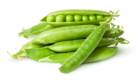 Pile of fresh green peas in the pods Royalty Free Stock Photo
