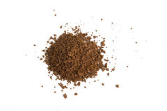 Pile of fresh ground coffee powder isolated on white background Royalty Free Stock Photos