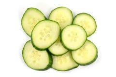 Pile of fresh organic cucumber slices royalty free stock image