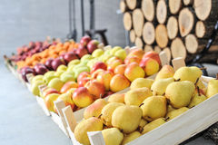 Pile of fresh pears, apples and apricots Stock Photos