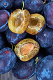 Pile of fresh plums Stock Photo