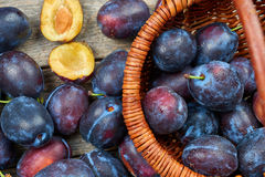 Pile of fresh plums Stock Images