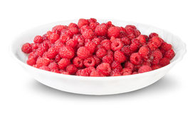 Pile Of Fresh Raspberries On A White Plate. Isolated On White Background Royalty Free Stock Photos