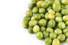 Pile of fresh raw green peas  over white background with copy space.  Royalty Free Stock Image