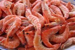 Pile of Fresh Shrimp. In a ceramic bowl Stock Photo