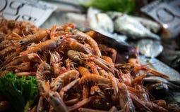 Pile fresh shrimp. At a market Venice Italy Stock Photo