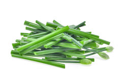 Pile of fresh slice green chinese chives isolated on white backg Royalty Free Stock Photos