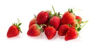 Pile of Fresh Strawberry Lay on White Ground Stock Photos