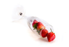 Pile of Fresh Strawberry and Tall Glass. Fresh Strawberry and tall glass , Little shadow  on white ground Stock Image